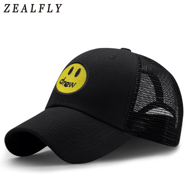 DREW House Baseball Cap For Men Breathable Mesh Drew Justin Bieber Dad Hat Smiley Face Women Hat Snapback Embroidery Casual Caps