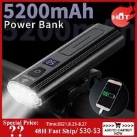 WEST BIKING 5200mAh luce per bicicletta impermeabile ricarica USB LED 1300 lumen faro come Power Bank MTB accessori per lampade anteriori per bici