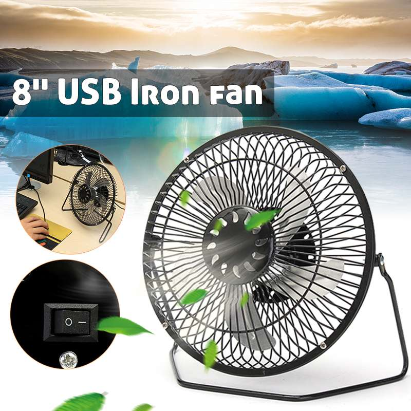 8 Inch USB Fan 360 Degrees Rotate Mini Cooling Iron Fan 5W For Office Home Portable Computer Super Mute Silent PC Laptop