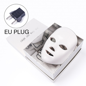 7 Colors Led Therapy Mask Light Face Mask Therapy Anti Acne Whitening Facial Mask Korean Skin Care Face Rejuvenation Home SPA - EU Plug Box
