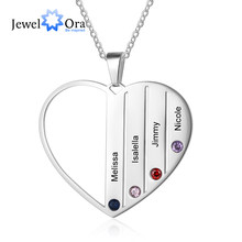 Personalized Engraved Name Family Necklace Customized 4 Birthstones Stainless Steel Heart Necklaces for Women(JewelOra NE103421)(China)