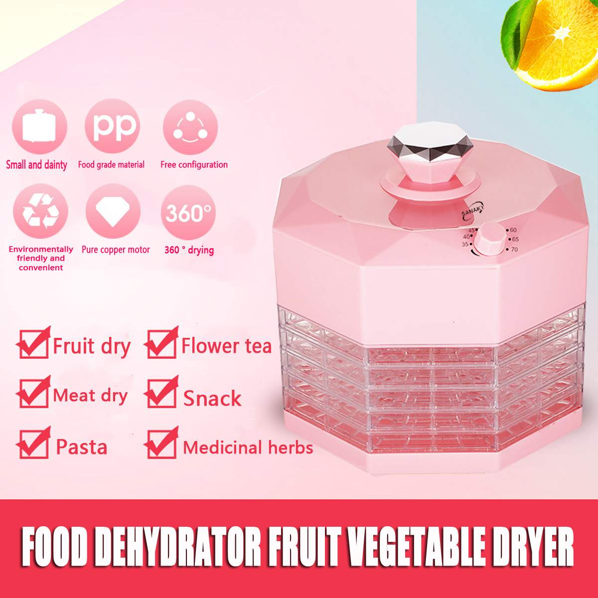 5 Trays 220V 250W Dried Fruit Vegetables Herb Meat Machine Household MINI Food Dehydrator Pet Meat Dehydrated 8 Gear