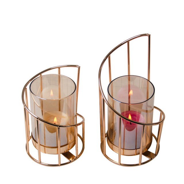 Golden Iron Candle Holder European geometric Candlestick Romantic Crystal Candle Cup Home Decoration Table Decoration 5