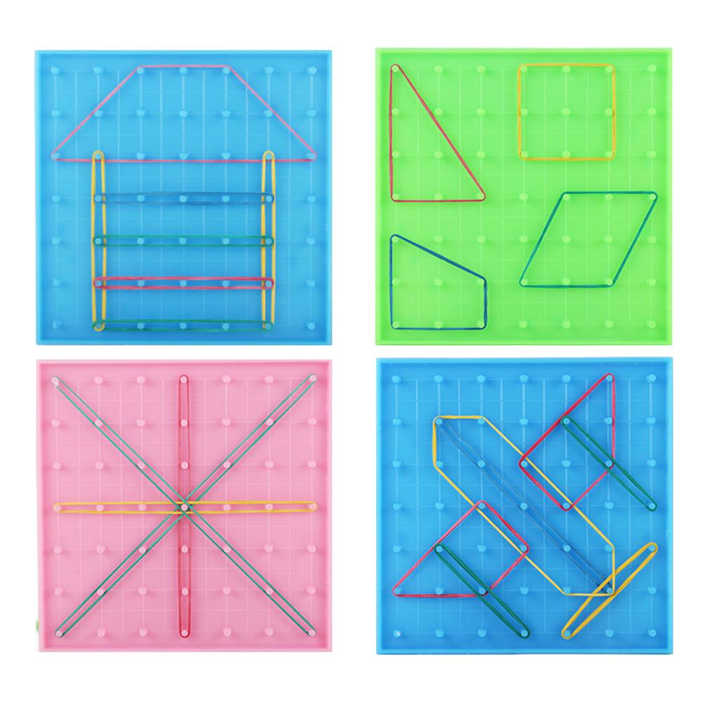 Double Sided Peg Geoboard Toy Rubber Tie Graphics Learning Kids Educational Toy For Children Kids Primary Math Education14x14cm