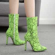 2019 new fluorescent green snake pattern pointed women boots high heels pu sexy Calf high heel boots woman shoes big size 42 цена 2017