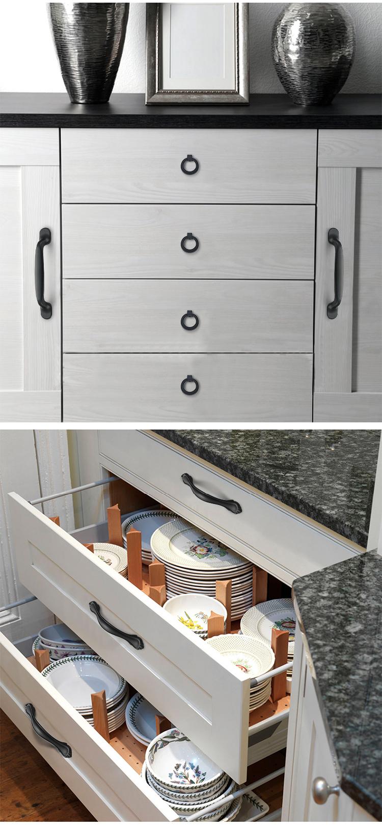 H416a01fa0db4476dbcb9ad9adb5b9b9d1 - American Style Black Cabinet Handles Solid Aluminum Alloy Kitchen Cupboard Pulls Drawer Knobs Furniture Handle Hardware