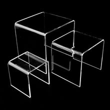 38# Square Acrylic Clear 3 Pieces Riser Display Stands Showcase Set To Set Up Jewerly Or Makeup Products Family Props 2020(China)