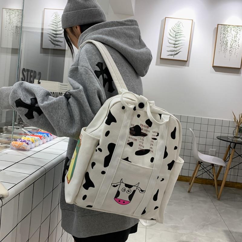 2pcs/set Cute Girls Milk Cow Printing Backpack Women Canvas Travel Knapsack Student School Bag Teenager Fashion Rucksack
