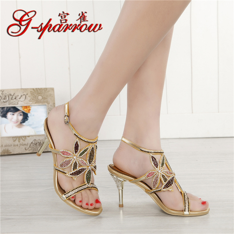 G-sparrow New Large Size Diamond Gold Crystal Wedding High Heeled Sandals Rhinestone Thick Heel Elegant Shoes3