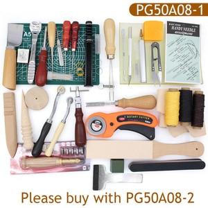 Image 5 - Skórzane przyrządy do szycia DIY zestaw do szycia ręcznego z szydło woskowane naparstki nici do szycia skóry, płótno, podstawowe narzędzia dla początkujących