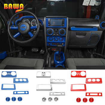 BAWA Interior Mouldings Stickers for Jeep Wrangler JK 2007-2010 Automobile Console Air Conditioner Switch Decoration Accessories