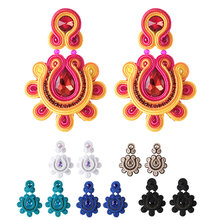 KPACTA Fashion Retro National Earrings Back Clip Type Holeless Ear Female Big Earring Handmade Crystal Pendant