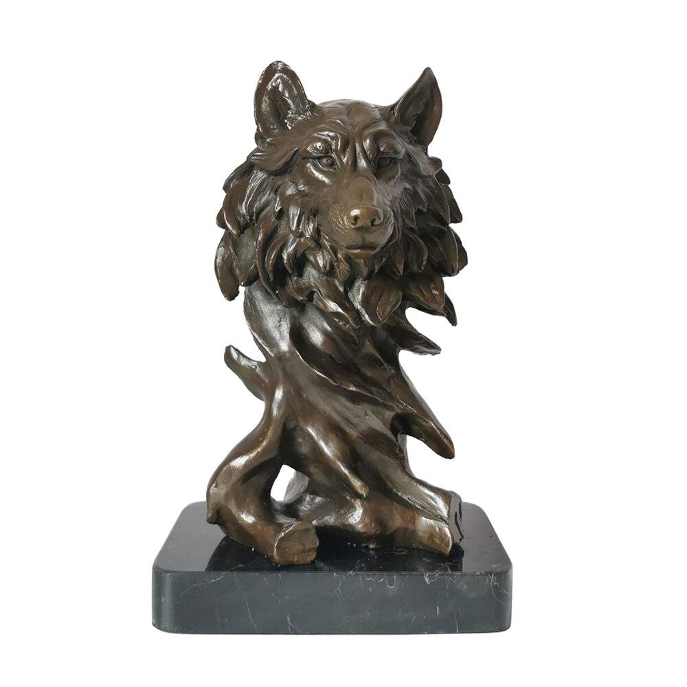 Бронзовая статуя волка, скульптура, латунная Статуэтка с животным бюстом, винтажная Статуэтка диких животных, украшение для офиса и дома