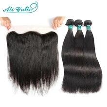 עלי גרייס ישר שיער חבילות עם פרונטאלית 13x4 בינוני חום תחרה ברזילאי שיער טבעי חבילות עם פרונטאלית משלוח חינם