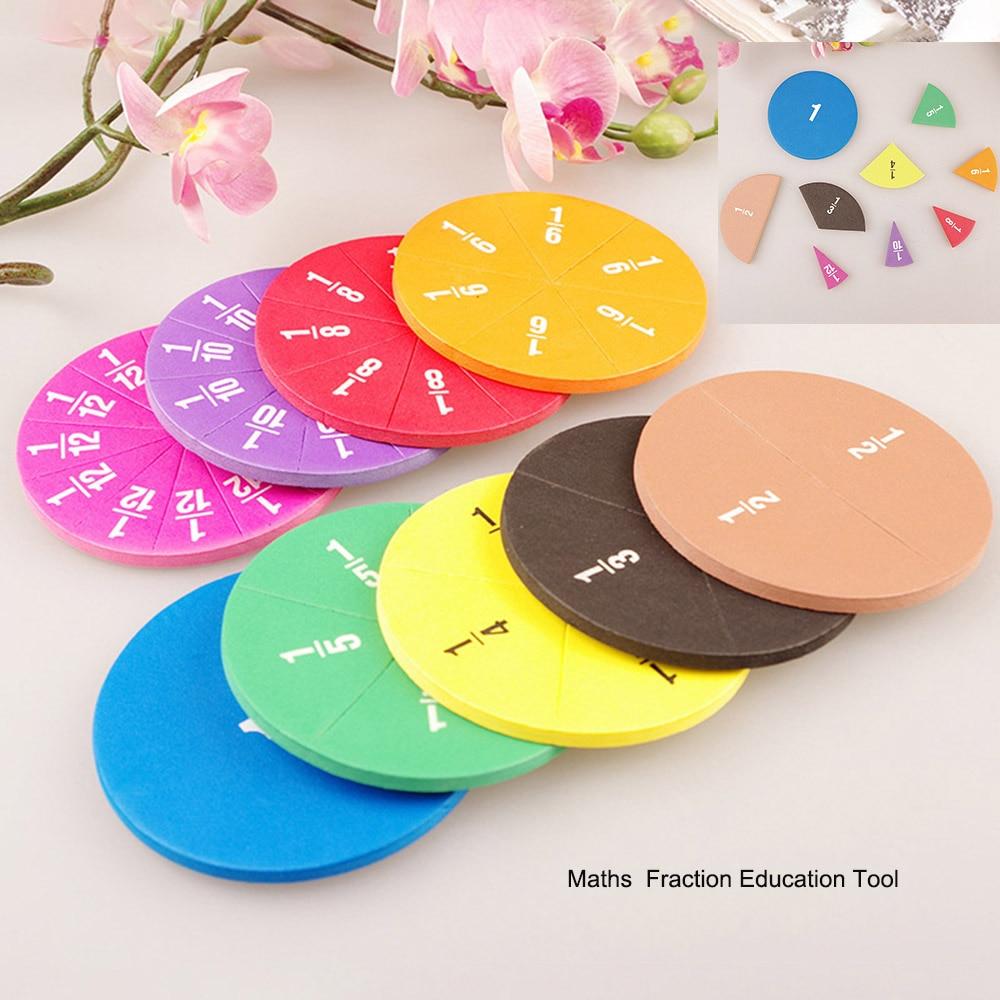 Circular numerado frações matemática ferramenta de ensino eva forma redonda frações instrumento montessori brinquedos matemáticos educativos