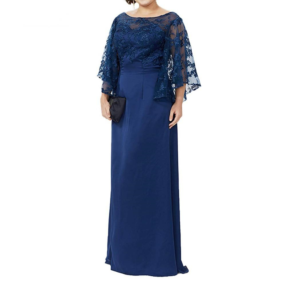 Long Sleeve Lace Top Plus Size Mother Of The Bride Dress Floor Length Long Column Formal Evening Gowns Mother Of Groom