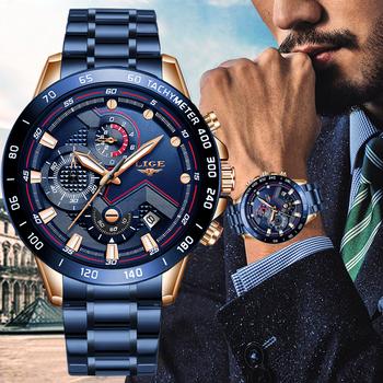 LIGE-Niebieski zegarek męski luksusowy ze stali nierdzewnej top marka zegarek kwarcowy wodoodporny moda męska chronograf sportowy wojskowy tanie i dobre opinie 22cm QUARTZ 3Bar Przycisk ukryte zapięcie CN (pochodzenie) STAINLESS STEEL 13mm Hardlex Kwarcowe Zegarki Na Rękę Papier