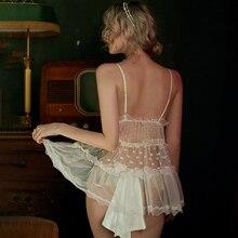 חמוד הלבשה תחתונה תחתוני פיג מות סקסי פיג מה נשים דוט תחרה גזה כותונת רצועה דקים מתוק תחרה מקסים פיג מה סט