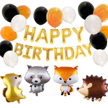 Jungle Theme Party Baloon Wedding Decor Kid Birthday Happy Banner Safari Animal Cake Topper
