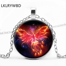 LKLRYWBD / Fire Phoenix Round Glass Pendant Necklace Jewelry
