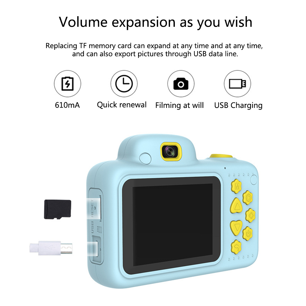 H416aa9799424487f91e3dfffc1a2826cW Camera Gifts Video With Memory Card DSLR Camcorder Dual Lens Cartoon Kids Toys Shockproof Mini Digital ABS 2.4 Inch Screen