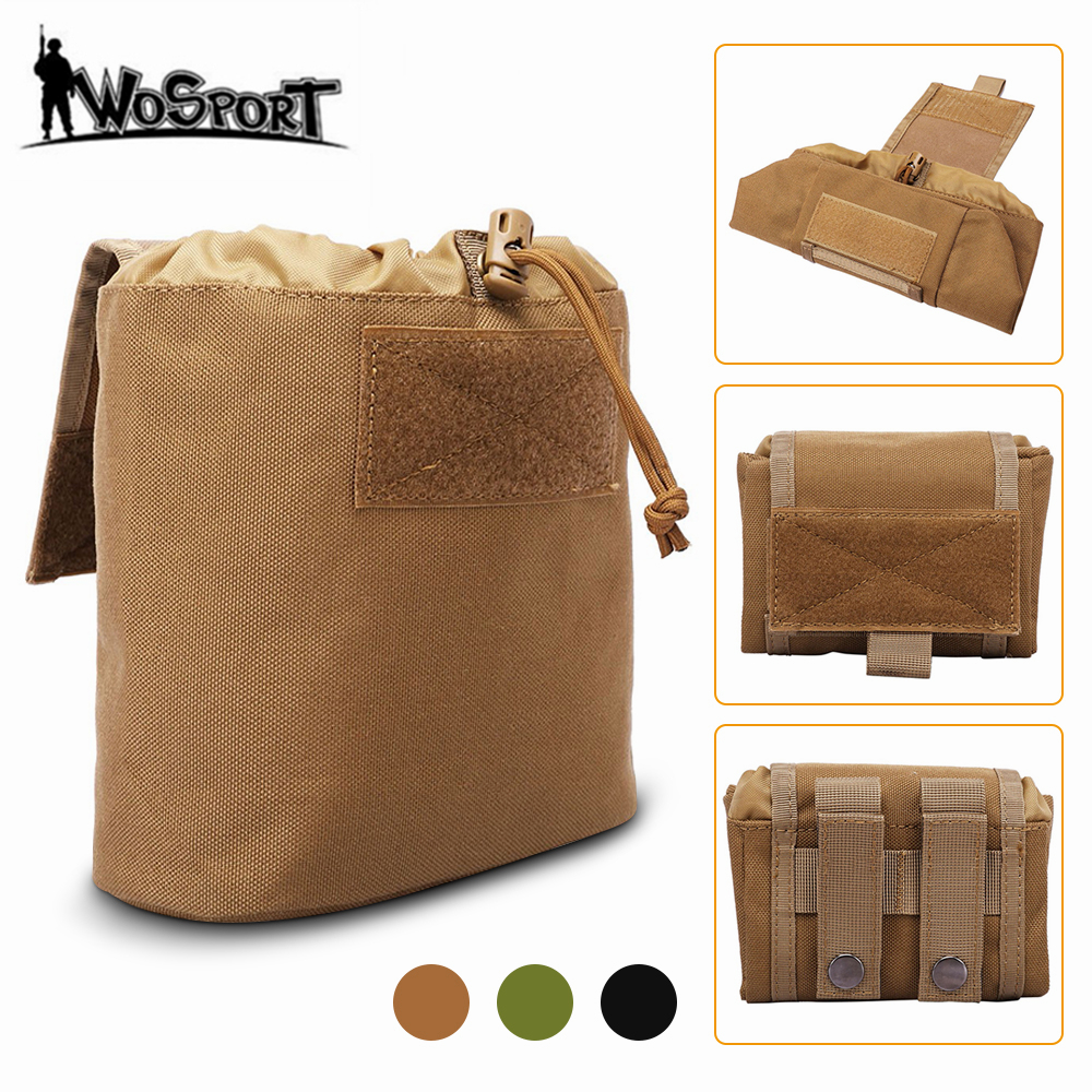 Tactical Foldable Molle Dump Pouch Ammo Drop Pouch Recovery Magazine Pack Outdoor Hunting Waist Pouch Utility Tool Accessory Bag