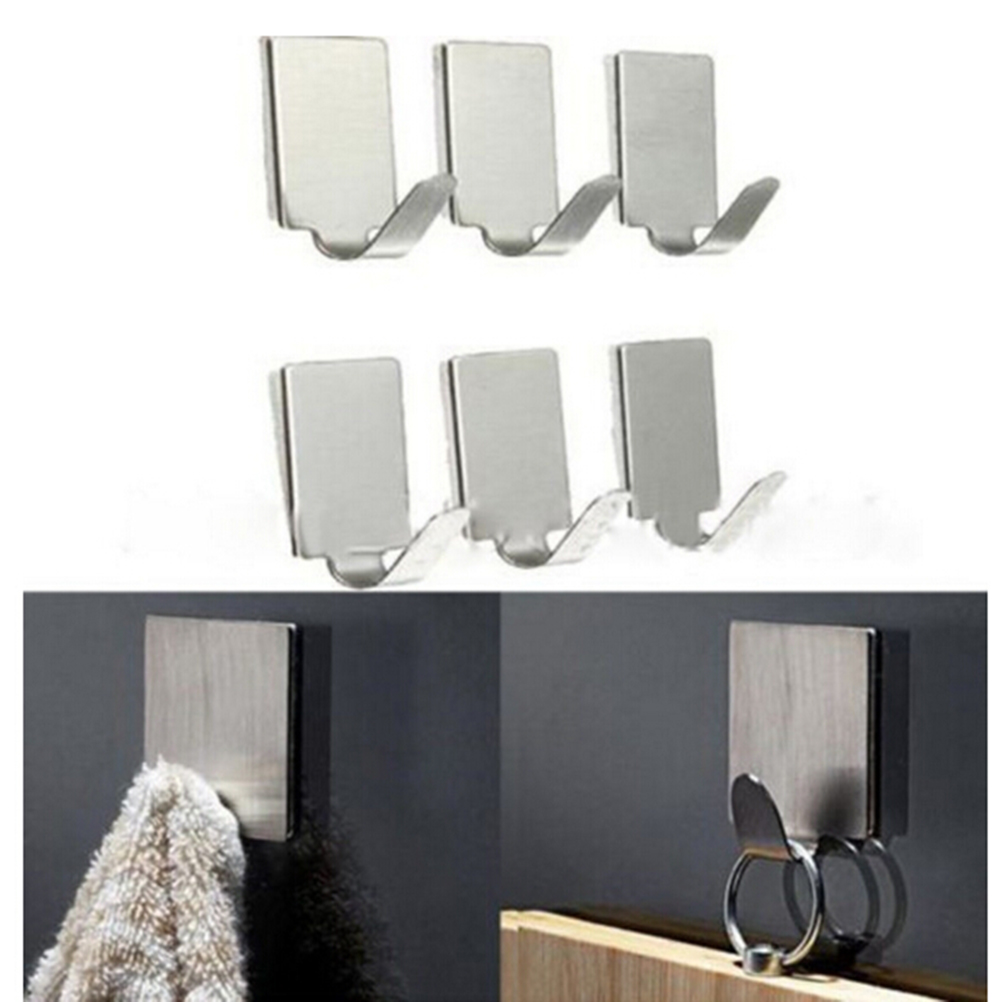6Pc/Lot Stainless Steel Family Robe Hanging Hooks Hats Bag Key Adhesive Wall Hanger For Bathroom Kitchen