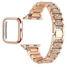 Браслет из нержавеющей стали для Apple Watch Band Series 6 5 4 3 2 1, Женский бриллиантовый ремешок для iWatch 6 44 мм 40 мм 42 мм 38 мм