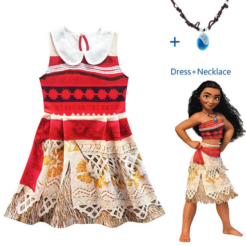 2020 Princess Moana Cosplay Kostum untuk Anak-anak Vaiana Kostum dengan Kalung untuk Kostum Halloween untuk Anak-anak Gadis Hadiah