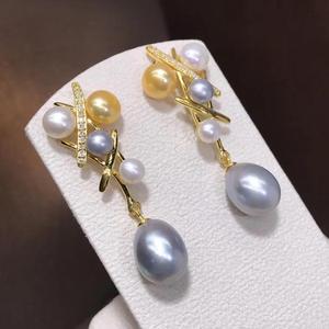 Pendientes de perlas D510, joyería fina, gota de agua de Plata de Ley 925 8-10mm, perlas grises naturales de agua dulce, Pendientes colgantes