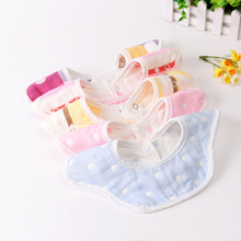 Baby Flower Bibs Cotton Infant Feeding Towel Bibs Cartoon Newborn Kids Toddler Round Scarf Bandana Cute Polka Dot Burp Cloth