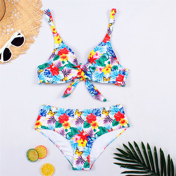 2020 Woman Plus Size Swimwear High Waist S-2XL Bikini Big Women Bathing Suits Floral Vintage Female Sexy Bather Swimsuits 1