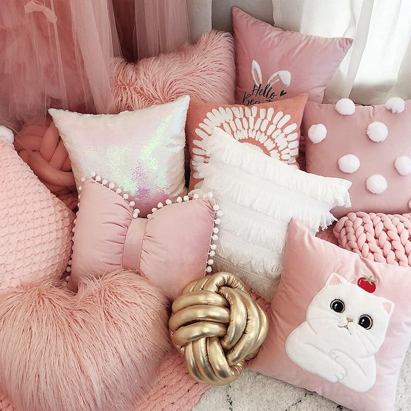 Pink Princess Rabbit Plush Cushion Cover Waist Cushion Heart Shape Home Decorative Sofa Car Chair Throw Pillow Case Cover