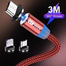 GTWIN 1 м/2 м Магнитный Micro USB кабель для iPhone samsung Быстрая зарядка usb type C Магнитный зарядный usb кабель зарядный шнур для телефона