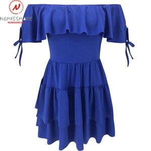 Image 5 - Seksi kadın evaze elbise Streetwear için Patchwork tasarım Ruffles dekor kapalı omuz kısa kollu katı bayan yaz ince elbise