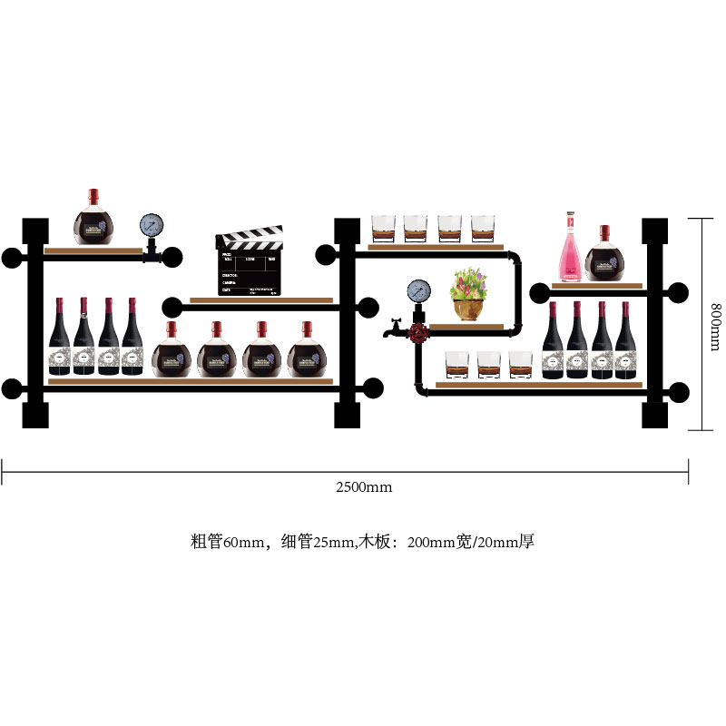 House Decoration Art TV Cabinet Bottle Organizer For Wine Rack Storage Retro Design Wine Display Made Of Iron Pipes And Boards