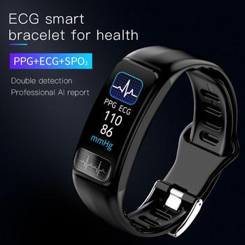 P12 ECG PPG SPO2 smart bracelet heart rate oxygen monitor blood pressure smart belt IP67 waterproof call reminder sports Band 2