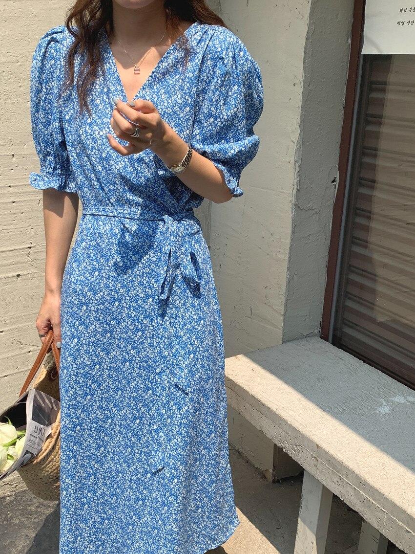 H416b53503b234fa483c819f88f0bd2616 - Summer V-Neck Short Sleeves Lace-Up Floral Print Midi Dress