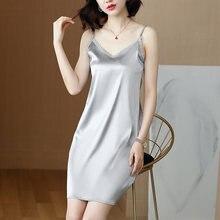 Платье женское шелковое атласное без рукавов с v образным вырезом