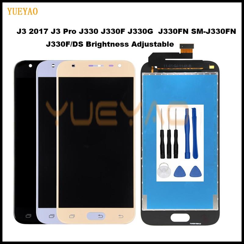 Original J3 2017 LCD For Samsung Galaxy J3 2017 J330 J330F SM-J330 LCDs Display Touch Digitizer Screen With Brightness Adjust