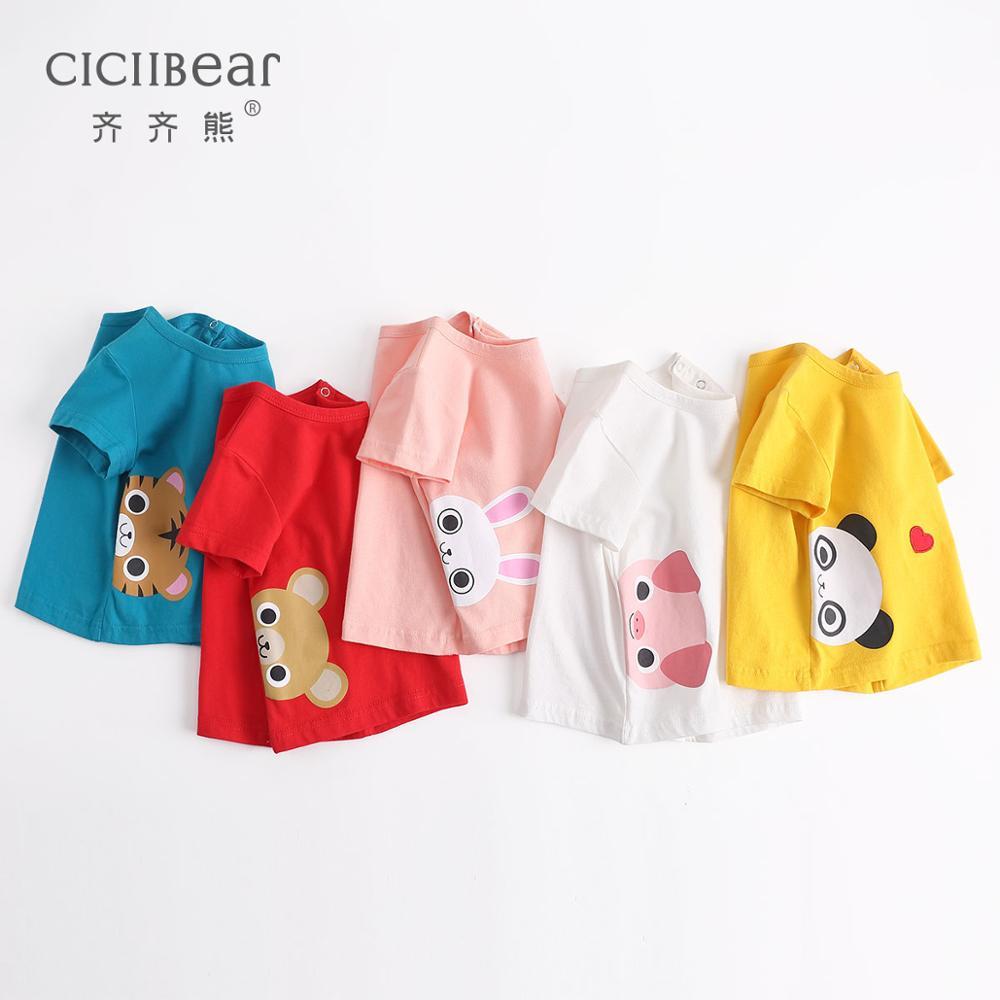 Ciciibear Baby Summer Cotton Short-sleeved Baby Boy Clothes Round Neck T-shirt Boys Girls Cute Pattern Printed Undershirt Top