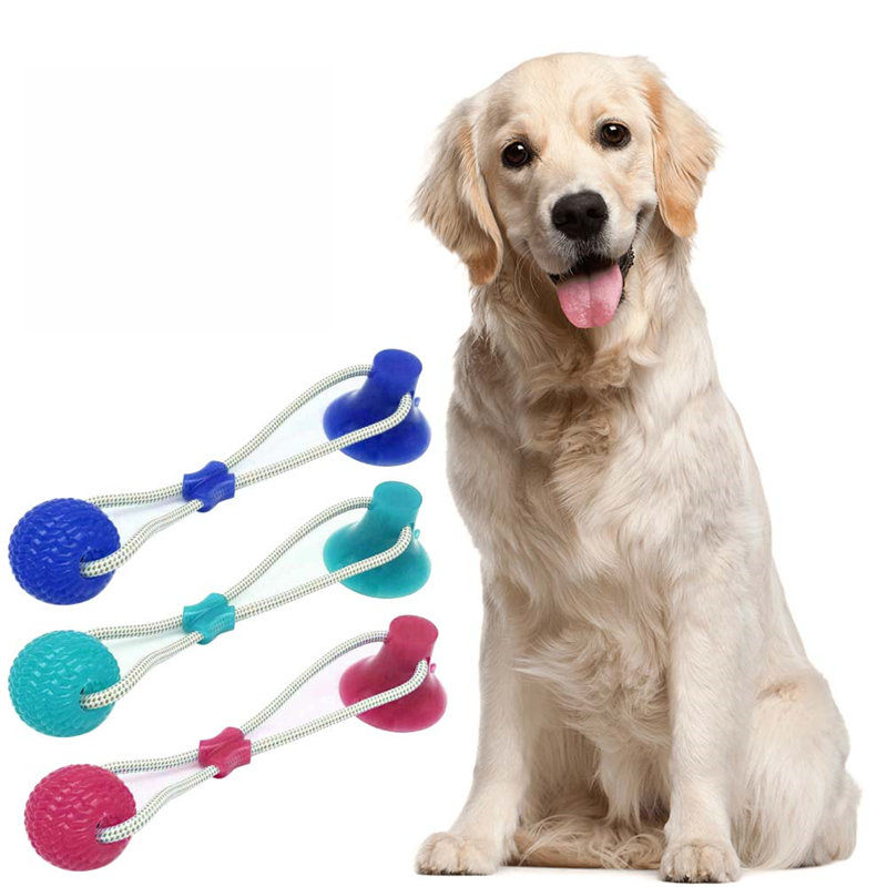 Pet Cats Dogs Interactive Suction Cup Push TPR Ball Toys Elastic Ropes Pet Tooth Cleaning Chewing Playing IQ Treat Puppy Toys