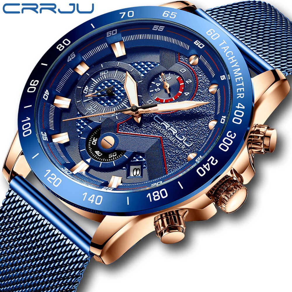 Crrju New Mens Fashion Casual watch for Men Date Quartz Wrist Watches Sports Chronograph Mesh Steel Watch relojes hombre 2019