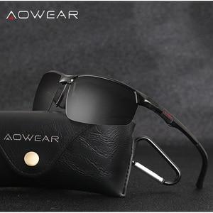 Image 3 - AOWEAR גברים של משקפי שמש ללא מסגרת גברים Porlarized באיכות גבוהה אלומיניום ספורט סגנון שמש משקפיים זכר חיצוני נהיגה משקפי Gafas