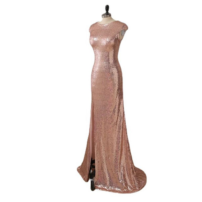Popodion Zipper Slit Long High-waisted Neckline Evening Dress Sequins Women Dresses for Party and Wedding Prom ROM80230