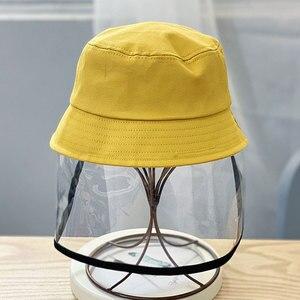 Image 5 - Детская Защитная Рыбацкая шляпа с защитой от брызг, Пыленепроницаемая несъемная маска, Детская однотонная шапка для отдыха на открытом воздухе, путешествий