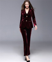 Burgundy Velvet Women Suits Blazer Jacket+Pants Formal Ladies Pant Suits Office Uniform Style Female Trouser PantSuit