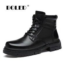 Plus Size Genuine Leather Men Boots Super Warm Plush Fur Ankle Snow Boots Handmade Waterproof  Retro Autumn Winter Shoes Men