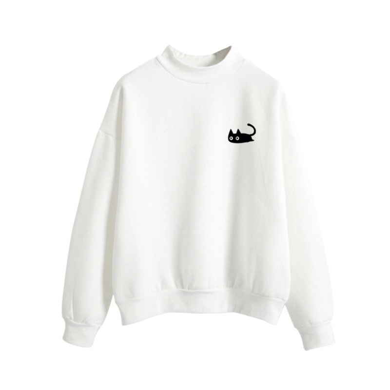 Autumn Winter Women Hoodies Sweatshirt Cute Cat Embroidery Long Sleeves O-Neck Solid Color Sweatshirt Thin M-XL Pullover Tops