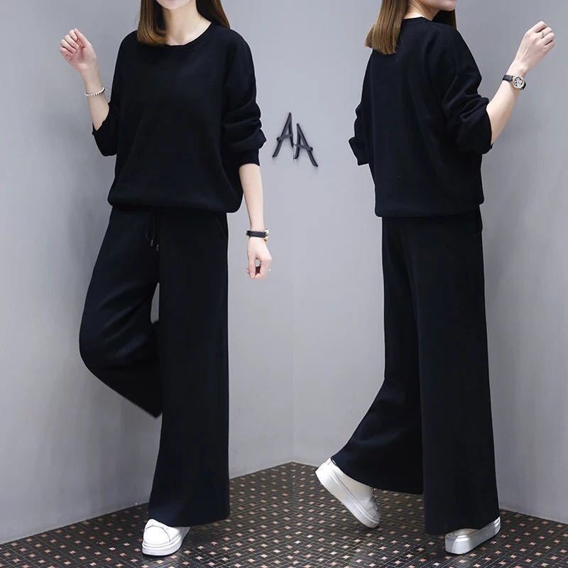Large Size Dress Western Style Set Female Spring New Style Fat Mm Cover Belly Tibetan Meat Slimming Loose Pants Casual Two-Piece
